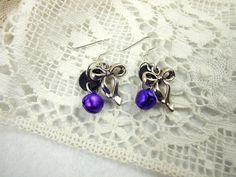 Earrings, Purple, Christmas Bows and Bells, Stirling Silver Earwires. £5.25