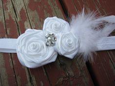 White flower headband with feathers, white headband, baby headband, christening, baptism, first communion, bridal. $13.00, via Etsy.