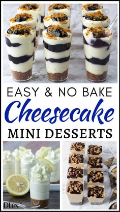 Are you looking for easy no bake desserts? Check out our collection of beautiful no bake cheesecake desserts in mini cups! They're so simple and quick to make and definitely delicious! Wow your guests with these easy no bake cheesecake party desserts! Mini Dessert Cups, Mini Dessert Recipes, Easy No Bake Desserts, Mini Desserts, Just Desserts, Desserts For Dinner Party, Dessert In A Cup, Mini Dessert Shooters, Microwave Desserts