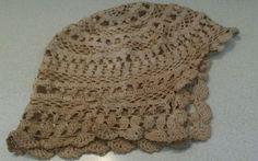 True-ANTIQUE-Hand-Crocheted-Dark-Cream-Baby-Night-Cap-Hat-Bonnet