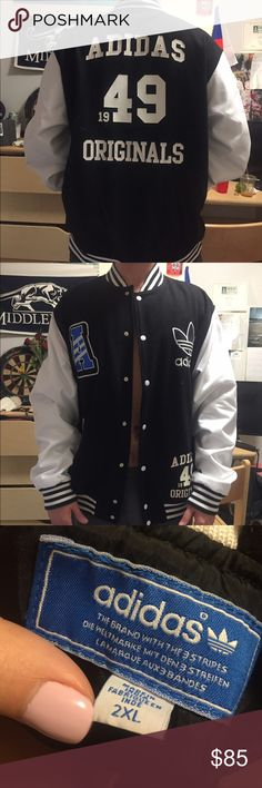 """Adidas 1949 Original Trefoil Varsity Jacket 2XL Worn once. Fits like an XL. As seen in b.o.b./kanye'a music video """"Beast Mode"""". Classic in great condition! Adidas Jackets & Coats Bomber & Varsity"""
