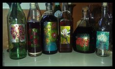 My recycled bottles, painted with nail polish and filled with my home made coffee liqueur for holiday gifts this year. (by Mimi DiFrancesca)