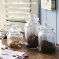 glass storage jars set of 3 - Shaker Cafe Ideas