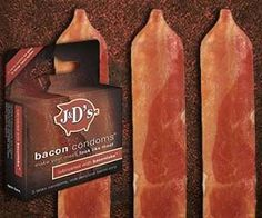 "Give a whole new meaning to the term ""porking"" when you fool around using the bacon condoms. They disguise and protect your meat by wrapping it up with..."