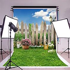 SUSU 5x7ft(150x220cm) Green Garden Photography Backgrounds Pink Flowers Backdrops Blue Sky Backdrop for Children Summer Party Photo Studio