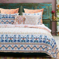 Barefoot Bungalow Two-Piece Aleena Ivory Reversible Twin Quilt Set Bungalow, Orange Quilt, Twin Quilt, Mattress Covers, Queen Quilt, Shabby Chic Cottage, Quilt Sets, Quilt Cover, Home Textile