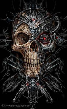 Bio skull robot illustration