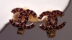 18K GP Garnet CC Earrings by GlowingEmpire on Etsy, $60.00