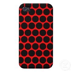 Black and Red Polka Dots Pattern iPhone 4 Cases Cool Iphone Cases, Iphone Case Covers, Create Your Own, Polka Dots, Cool Stuff, Red, Pattern, Black, Design