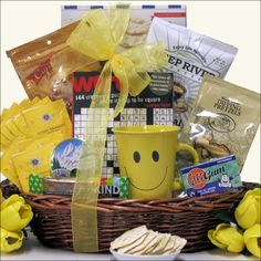 """Cheerful Wishes Get Well Gift Basket When you can't be there in person you can still let them know you are thinking about them by sending this """"Cheerful Wishes"""" Get Well Gift Basket. This cheery baske"""