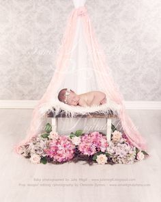 Beautiful stool with flower and veils - Newborn digital backdrop /background - psd with layers