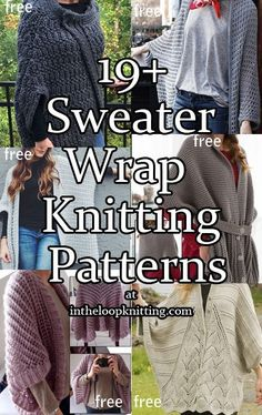 Knitting Patterns for Sweater Wraps including cocoon cardigans, ruanas, loose shrugs, ponchos with sleeves. Most patterns are free.
