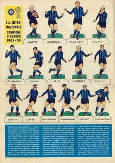 European Cup winners in 1965 - Inter Milan. Football Shirts, Football Jerseys, European Cup, Sports Graphics, Soccer World, Vintage Magazines, Paper Models, Sports Logo, Street Fighter