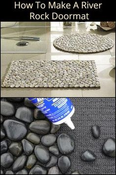 Whether You Need a Mat For Your Porch or Bathroom, Making Your Own River Rock Doormat is Great Idea River Rock Decor, River Rock Crafts, Pebble Bath Mat, Pebble Mosaic, Mosaic Pots, Mosaic Garden, Diy Tapis, River Rock Fireplaces, Stone Crafts