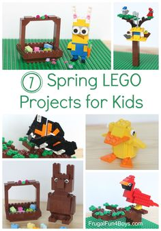 Seven Spring Lego Ideas! Projects to Build with Instructions. Duckling, birds, chocolate bunny, love the bunny minion!