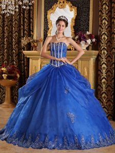 Impressive Blue Ball Gown Sweetheart Appliqued Quinceanera Dress in Organza