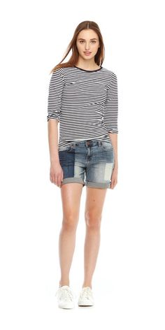 Patch Jean Short from Joe Fresh. Do denim shorts differently this season with a dyed patch effect. Only $23.40.