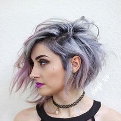Messy short hairstyle purple hair #Long&ShortHairStyles