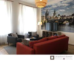Decorating project for Airbnb apartment in Prague, Czech Republic #livingroom #orange #sofa #mirror #airbnb #prague #wallpaper #praha #czechrepublic #czech