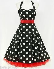 ROBE A POIS NOIRE & BLANC - PIN UP / ROCKABILLY / VINTAGE / TULLE ROUGE - T44/46