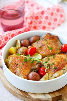 Lemon-Garlic Braised Chicken and Potatoes