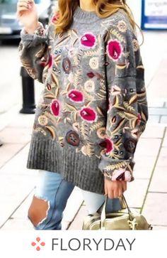 6b3118b79b1 Round Neckline Floral Regular Sweaters