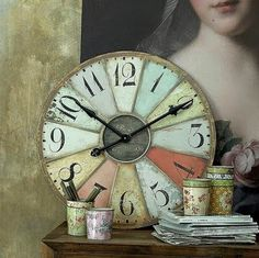 DIY painted clock. Love the shabby chic - old world feel.