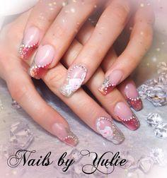 """""""Romantic View""""  art drop. Extended nail bed. #sculptednails #acrylicnails #peachnails #colorednails #didmynails #diamondnails #stones #chains #swarovskicrystals #swarovskinails #blingnails #blingbling #shinynails #sparkle #sparklynails #cutenails #simplenails #looksgood #lovemynails #nailsnailsnails #justnails #3drose #3dnaildesign #artdrop #swarovski #longnails #elegantnails"""