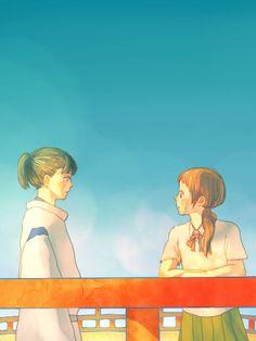 """Teenaged versions of Haku and Chihiro from Miyazaki's """"Spirited Away"""" - Art by Yamato"""