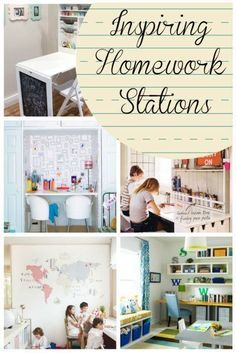 Homework Stations - from tiny to dedicated and quiet study area, these spaces have something for everyone.