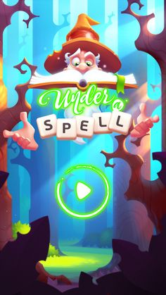 Under a spell - game ui - splash screen Match 3 Games, I Love Games, Cute Games, Mini Games, Game Ui Design, Ux Design, Level Design, Game Gui, Game Props