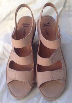 67b3250de80 Women s Clarks Collection Soft Cushion Beige Sandals Size 11W  fashion   clothing  shoes