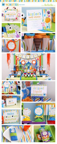 ••• Monster Baby Shower Party Theme •••  Shop Them Here:  https://www.etsy.com/shop/LeeLaaLoo/search?search_query=s19&order=date_desc&view_type=gallery&ref=shop_search  ♥♥♥ Vendor Credits:  ♥ Party Styling: LeeLaaLoo - www.leelaaloo.com  ♥ Party Printable Design & Decoration: LeeLaaLoo - www.etsy.com/shop/leelaaloo  Our YouTube channel for some DIY tutorials here: http://www.youtube.com/leelaaloopartyideas