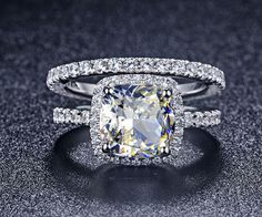 Luxury+2+Ct+Cushion+Cut+Man+Made+Diamond+Ring+Engagement+Rings+Set