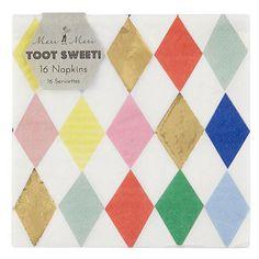 Paper Tableware - Toot Sweet Harlequin Pattern Large Napkins (($))