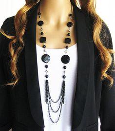 Long Black Beaded Necklace,  Multistrand Black Chain Necklace, Long Black Necklace, Bead Necklace, Long Necklace, Black and Silver Necklace