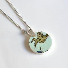 Simple Circle Broken China Jewelry  - Turquoise Crane