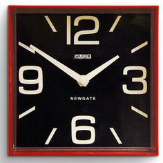 Cube Wall Clock Red
