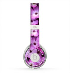 The Purple Flowers Skin for the Beats by Dre Solo 2 Headphones