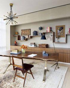 décoration murale salle à manger étageres bois cadres tableaux table bois brut #wall #decor #diningroom