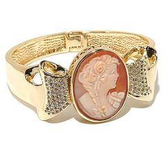 "AMEDEO NYC® ""Fiocco"" Cornelian Cameo Bangle Bracelet"