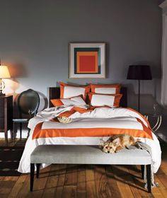 Orange Bedrooms, White Bedrooms, Gray Bedroom, Master Bedroom, Pretty  Bedroom, Bedroom Colors, In The Bedroom, Decorating Bedrooms, Interior  Decorating