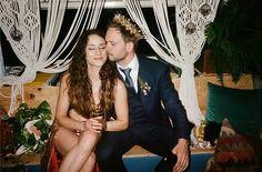 Troian Bellisario & Patrick Adams at their wedding reception