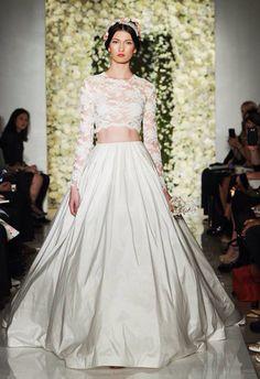 Two piece wedding dress. A twist for modern brides. Reem Acra