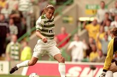 27 Aug 2000: Henrik Larsson of Celtic in action during the Scottish Premier League match against Rangers at Celtic Park in Glasgow, Scotland. Celtic won the game 6 - 2. \ Mandatory Credit: Stu Forster /Allsport