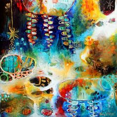 """Tracy Verdugo. 2013. """"In Luminous Flow"""". 91x91cm. acrylic on canvas. Sold.   """"I must be a mermaid..... I have no fear of depths and a great fear of shallow living""""~ Anais Nin  http://artoftracyverdugo.blogspot.com"""