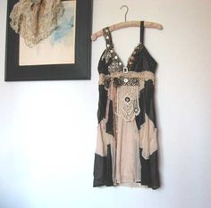 SALE - Silk Dress, Antique Lace, Upcycled, Vintage Lace, Mother of Pearl, Bow, Black, Cream, Floaty. $135.00, via Etsy.