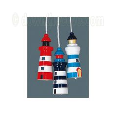 Details about Lighthouse Light Pull - Wooden Nautical Bathroom Light Cord…