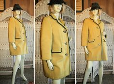 60's Vintage Loden Coat, Austria, Mustard Wool M by MorningGlorious