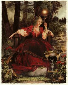 """Queen Mab, the Bringer of Dreams"""" 2007 Oil on 20 x 16 canvas (above right) is another example of Howard David Johnson's oil painting."""